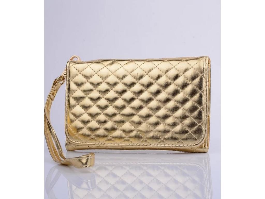 Alcatel U5 hd hand tasje met gestikt ruitjes patroon   goud   Alcatel