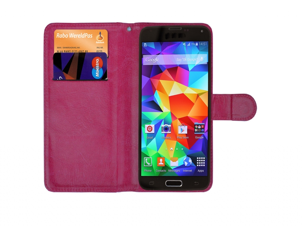 Luxe Book Wallet Case voor Sim Simphone 3   hot pink   Sim