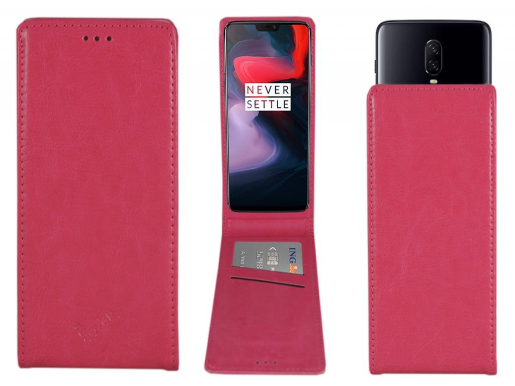 Smart Magnet luxe Flip case Wiko Highway signs hoesje   hot pink   Wiko