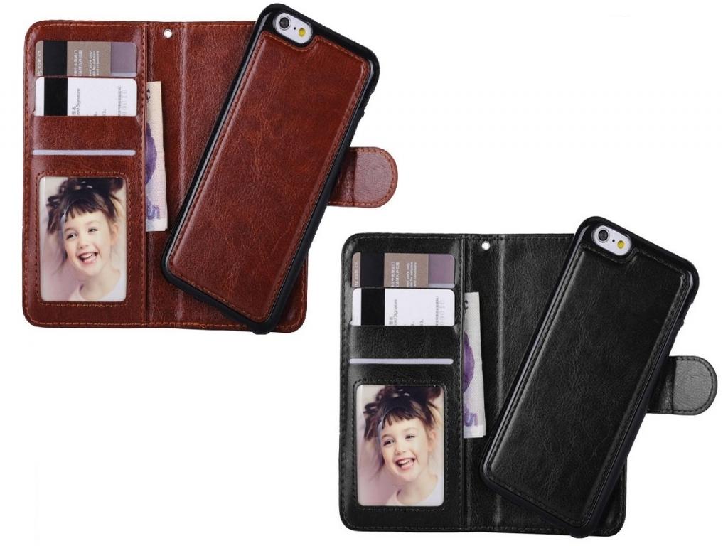 Iphone se Wallet Case Deluxe met uitneembare hardcase | bruin | Apple