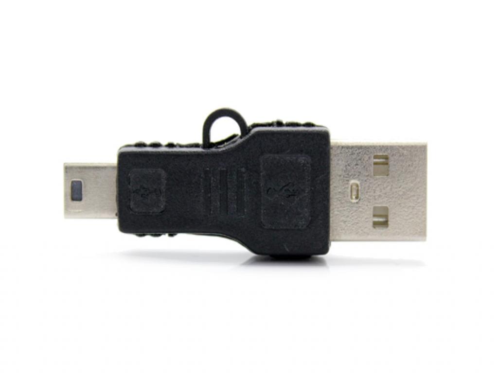 USB Verloopstekker | Male USB A naar Male Mini USB | zwart | Sanei