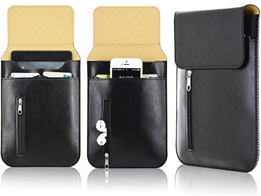 5/6 inch E-reader Sleeve    Leren i12Cover Sleeve   zwart   Pocketbook