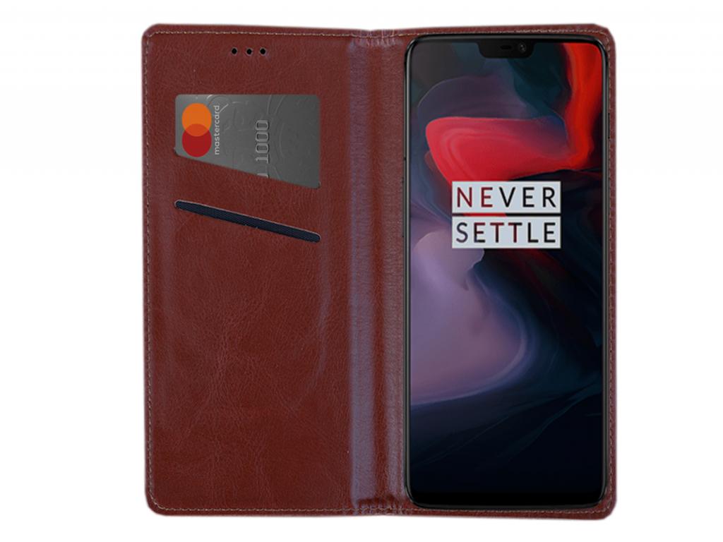 Smart Magnet luxe book case Amplicomms Powertel m6300 hoesje | bruin | Amplicomms