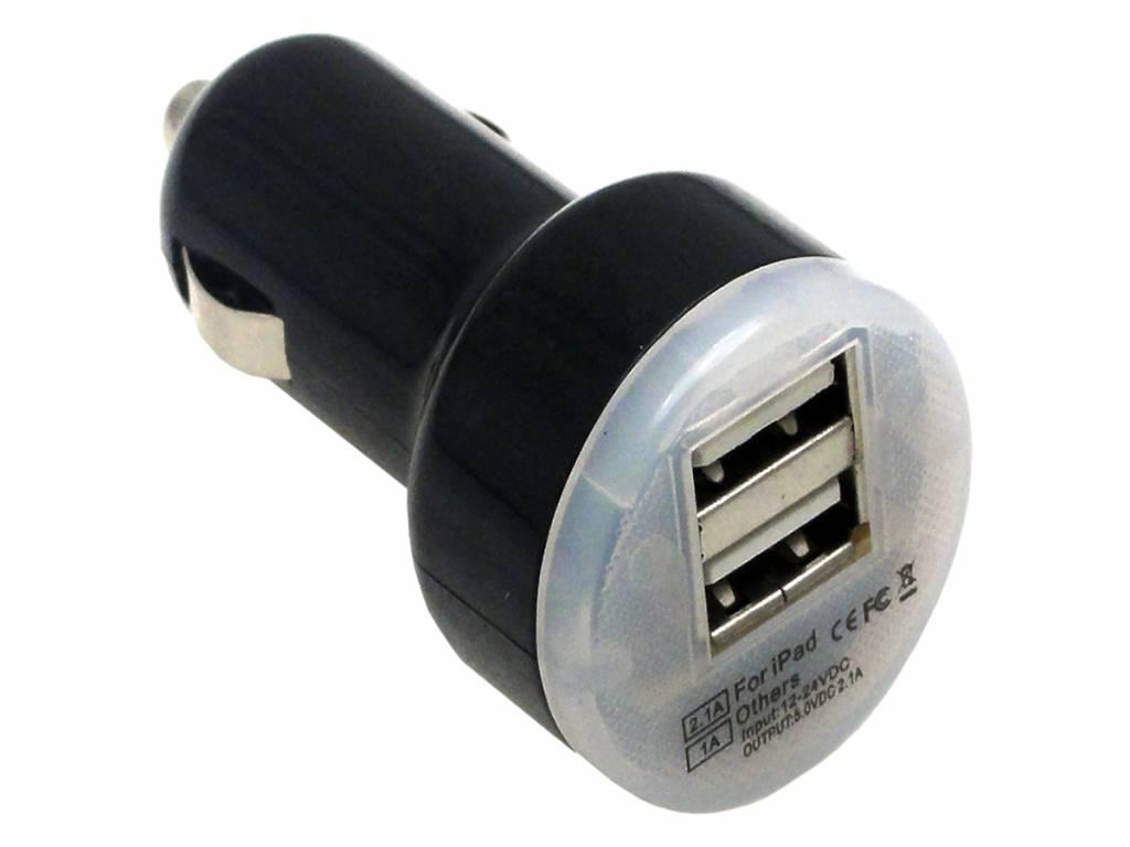 Dual USB Auto-oplader | USB adapter voor opladen in de auto | zwart | Cmx