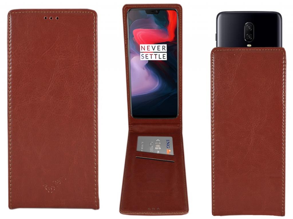 Smart Magnet luxe Flip case Amplicomms Powertel m6300 hoesje | bruin | Amplicomms