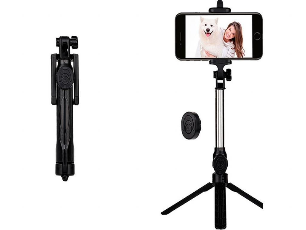Amplicomms Powertel m9000 Selfie tripod stick met Bluetooth | zwart | Amplicomms