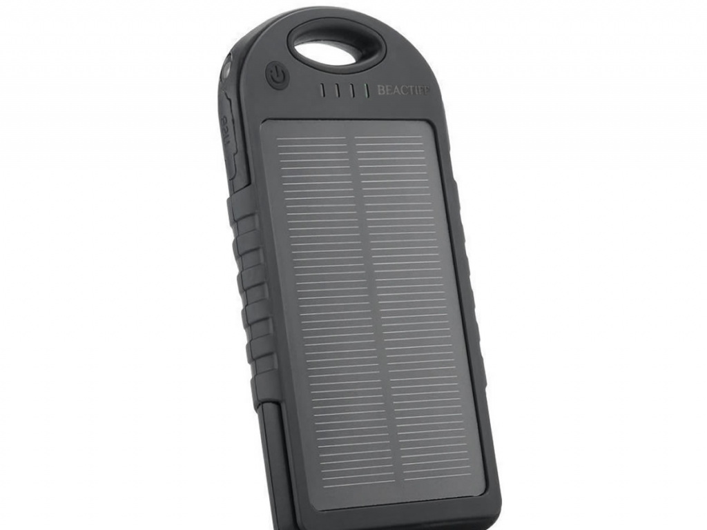 Solar Powerbank 5000 mAh voor Alcatel One touch idol 3 5.5  | zwart | Alcatel