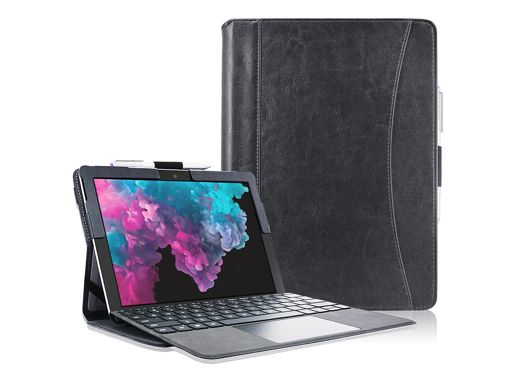 Microsoft Surface pro 6 Luxe Book Cover Premium van i12Cover | zwart | Microsoft