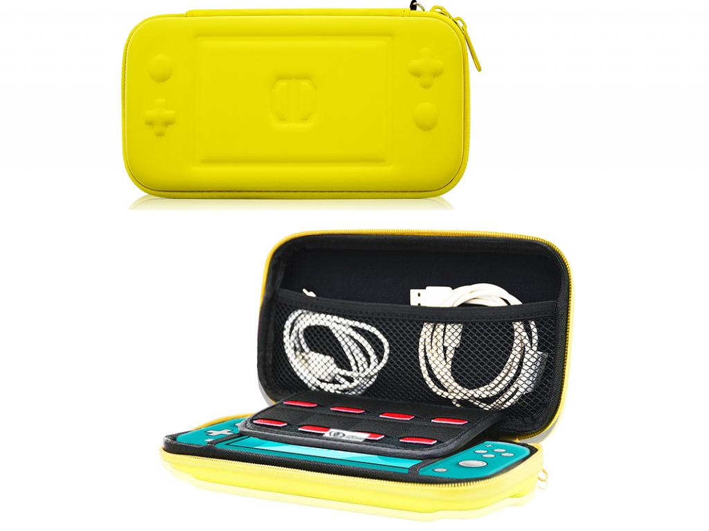 Nintendo Switch Lite opberg hoes met extra opbergvakken, geel   geel   Nintendo