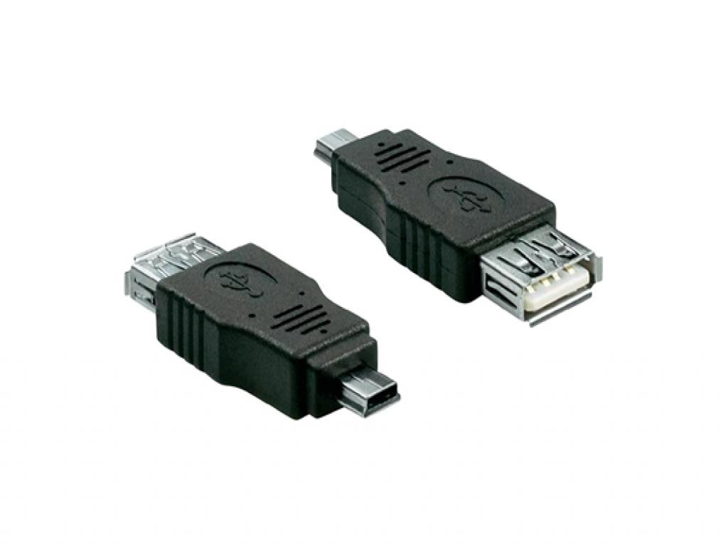USB Verloopstekker   Female USB A 2.0 naar Male Mini USB 5 pin   zwart   Aluratek