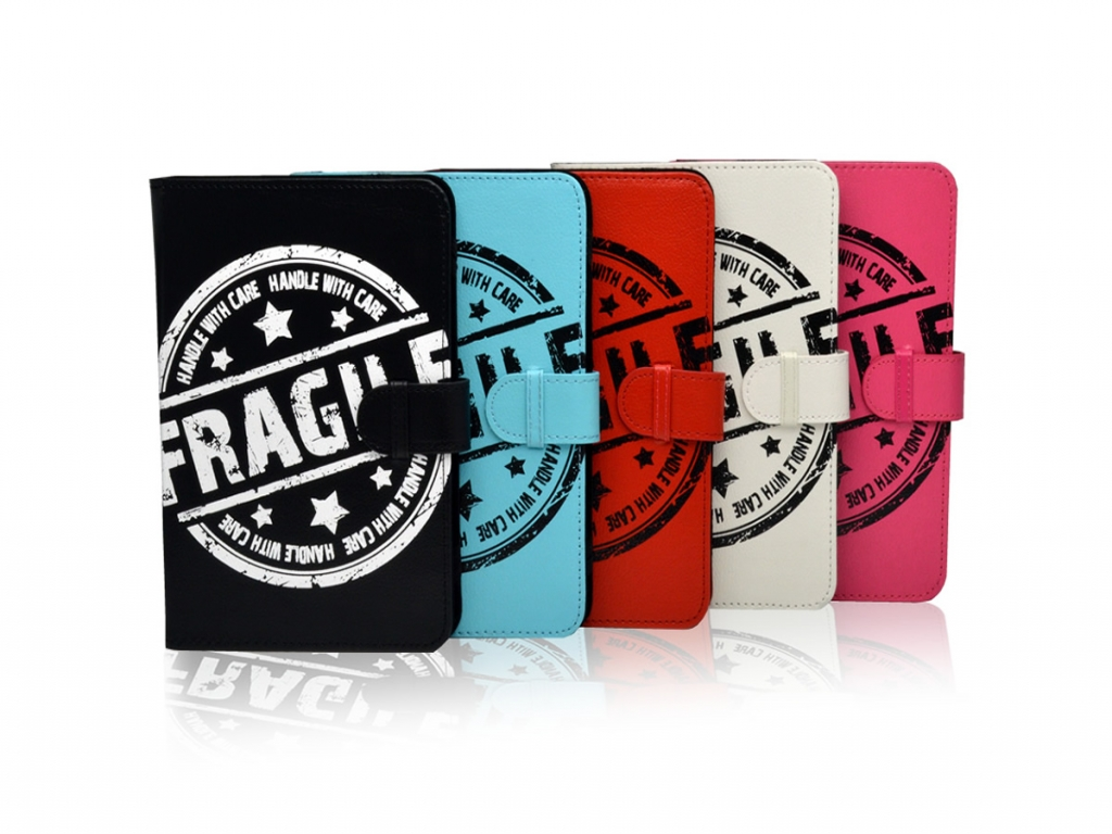 Hoes voor Point of view Mobii tab p701 met Fragile Print op cover  | wit | Point of view