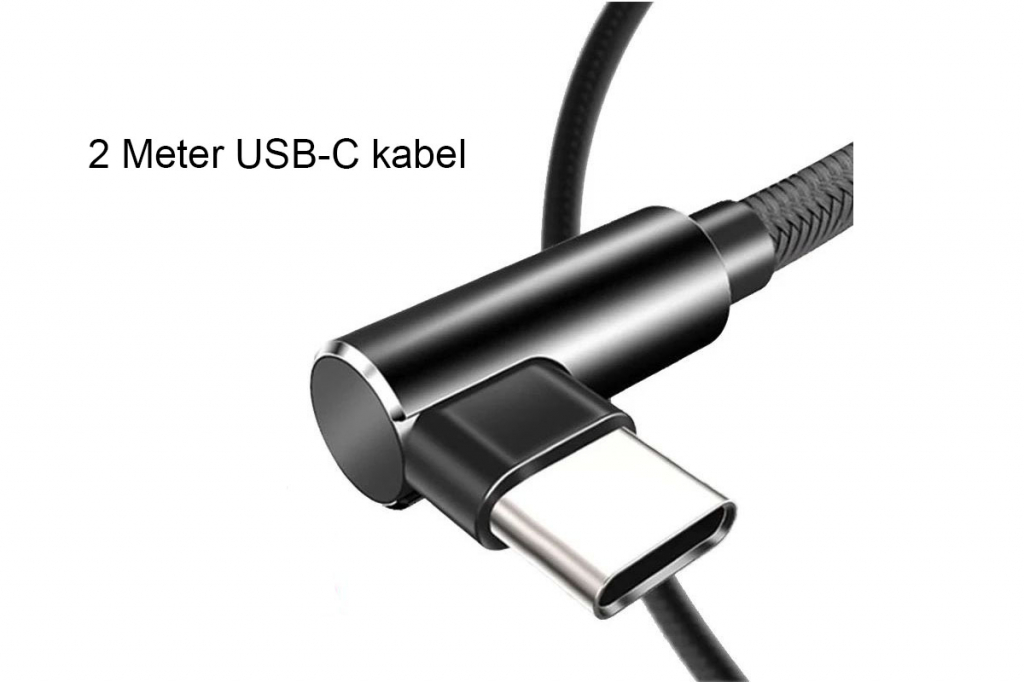 USB-C laad en data kabel | Male USB A 2.0 > Male USB C | Haaks | zwart | Samsung