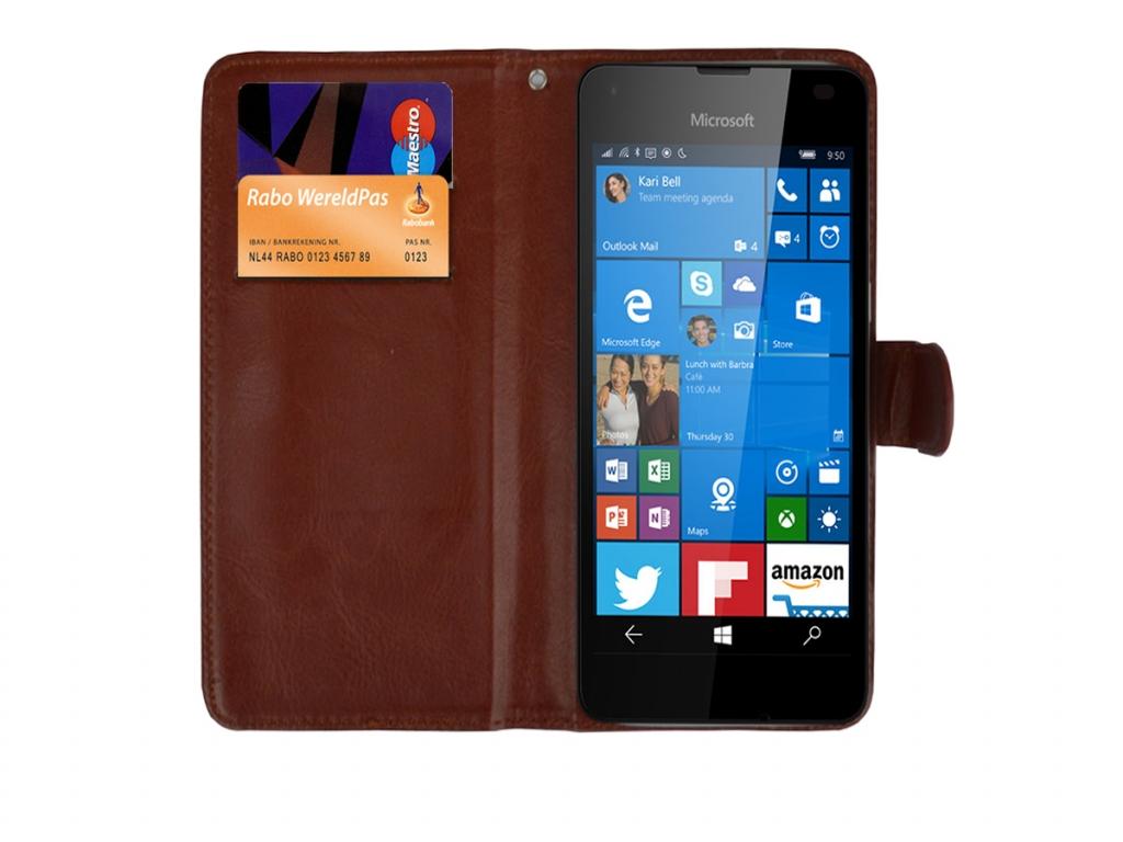 Luxe Book Wallet Case voor Huawei Ascend y220 | bruin | Huawei