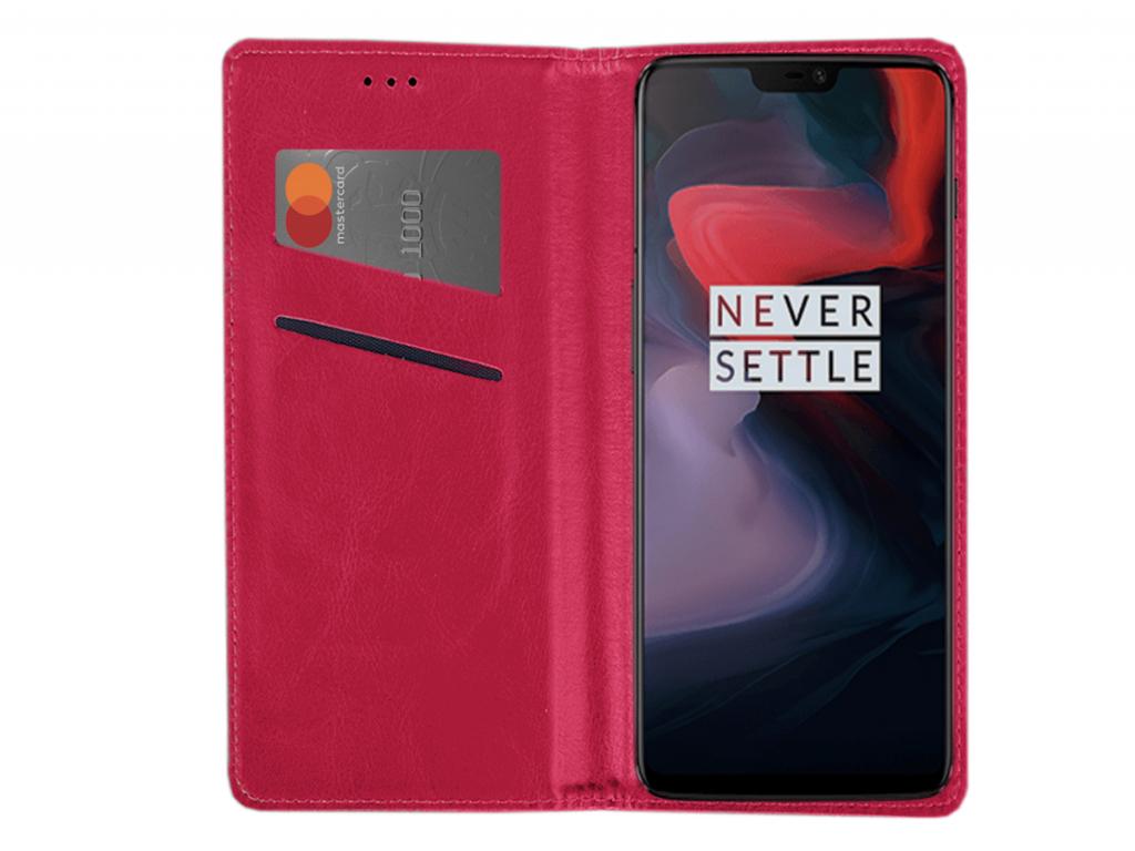 Smart Magnet luxe book case Huawei Ascend y221 hoesje | hot pink | Huawei