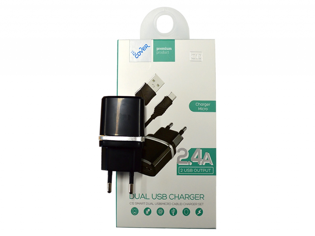 Micro USB snellader 2400mA voor General mobile Discovery 2 mini  | zwart | General mobile