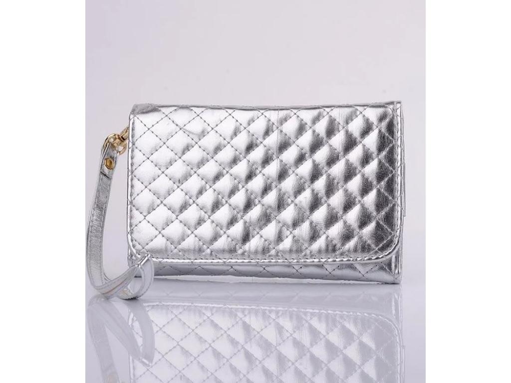Htc Desire 310 hand tasje met gestikt ruitjes patroon | zilver | Htc