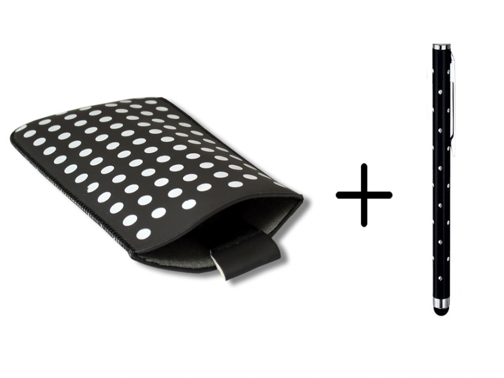 Polka Dot Hoesje | Alcatel One touch go play | Gratis Stylus | zwart | Alcatel