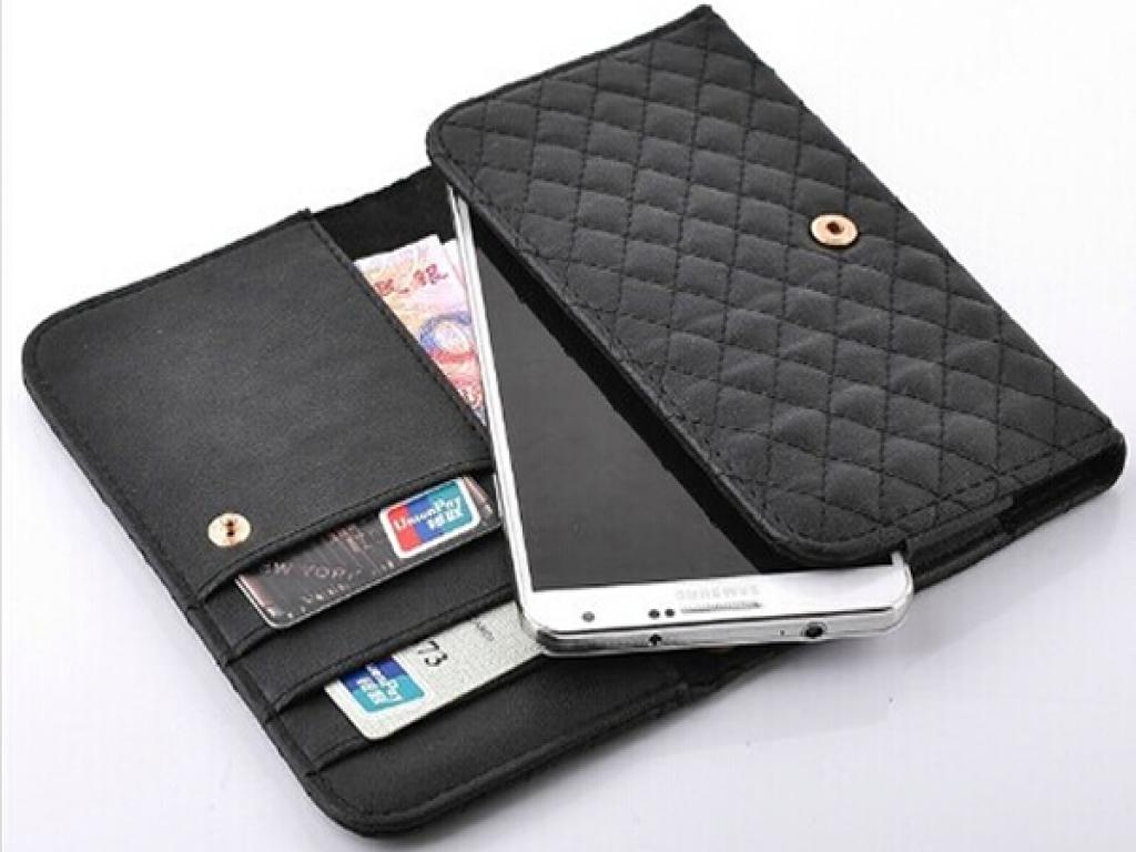 Lg G2 mini hand tasje met gestikt ruitjes patroon | zwart | Lg