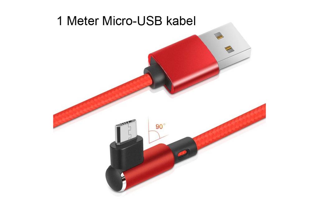 Micro-USB laad en data kabel | Haaks |1 meter | rood | Zte
