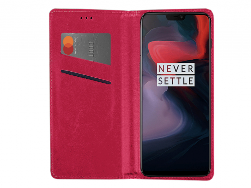 Smart Magnet luxe book case Huawei Ascend y220 hoesje | hot pink | Huawei