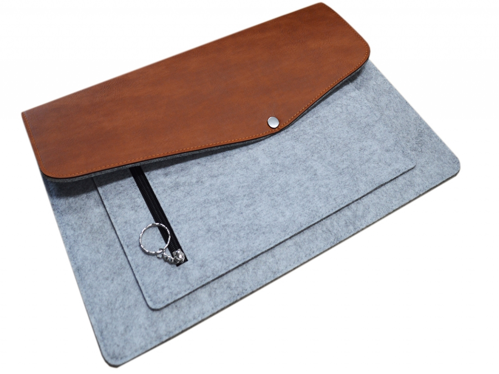 Vilt & leer Laptop sleeve + extra vak voor Trekstor Primebook p14b   grijs   Trekstor