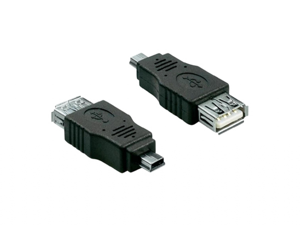 USB Verloopstekker | Female USB A 2.0 naar Male Mini USB 5 pin | zwart | Pipo