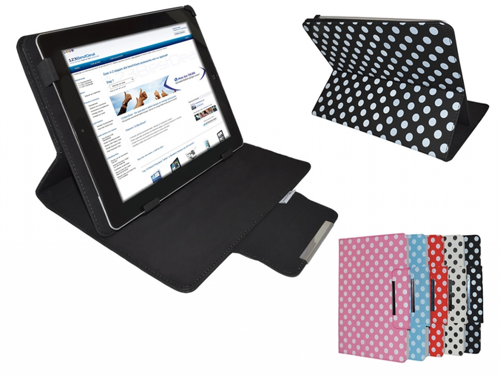 Nha tablet 7 inch Diamond Class Polkadot Hoes met Multi-stand   zwart   Nha tablet