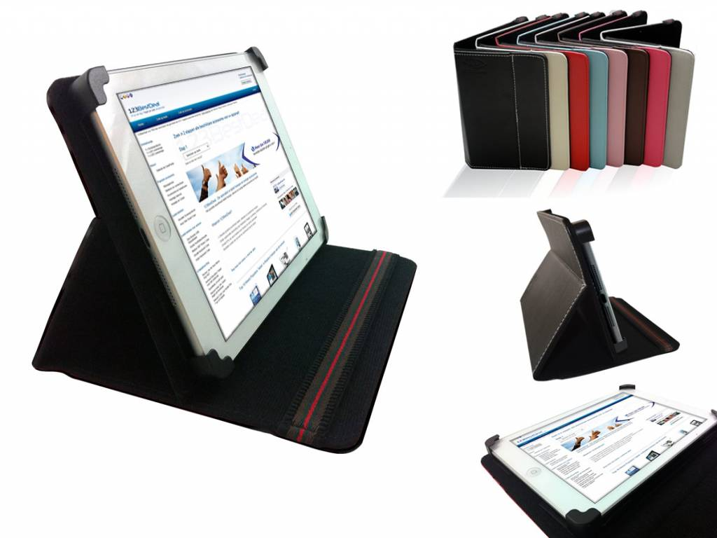 Hoes voor de Ambiance technology At tablet win 7   Unieke Cover met Multi-stand   zwart   Ambiance technology
