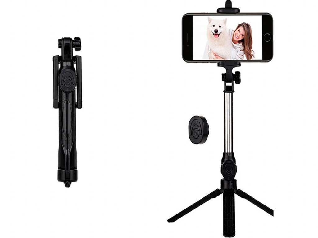Apple Iphone x Selfie tripod stick met Bluetooth | zwart | Apple