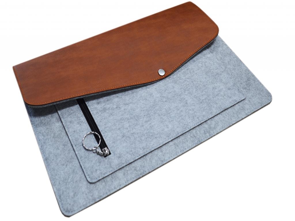 Vilt & leer Laptop sleeve + extra vak voor Trekstor Primebook p14   grijs   Trekstor