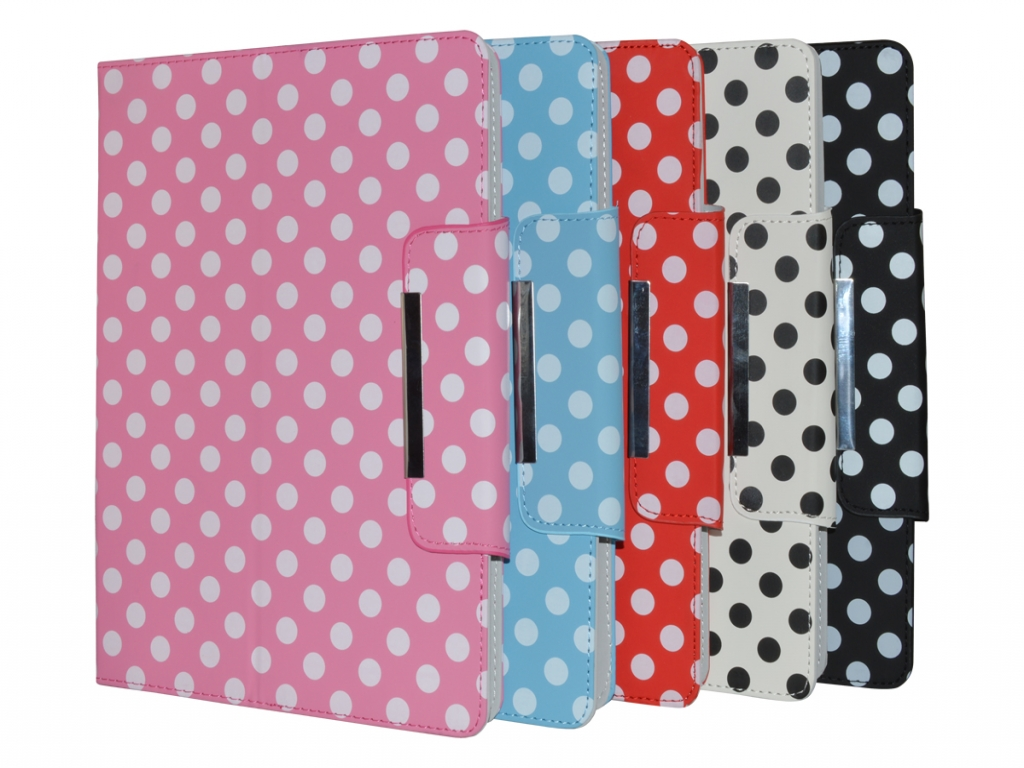 Point of view Mobii tab p701 Diamond Class Polkadot Hoes met 360 Multi-stand | wit | Point of view