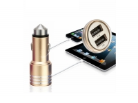 Dual USB Auto oplader met lifehammer voor Odys Media ebook scala
