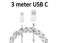 USB C kabel stof 3m voor General mobile Android one gm5 plus