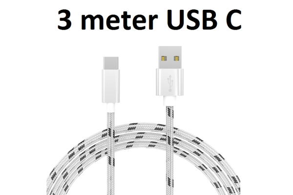 USB C kabel stof 3m voor Razer Phone 2
