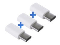 Verloopstekker Female Micro USB naar Male USB-C voor General mobile Android one gm5 plus 3-Pack
