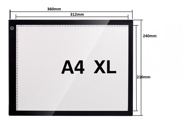 Professionele versie A4 XL LED licht Lichtbak / Tekentafel / Lichttafel / Lightpad / Lichtbox / Lightbox met 3 dimbare lichtstanden, o.a. voor Diamond Painting, fotografie, tekenen, tattoo etc