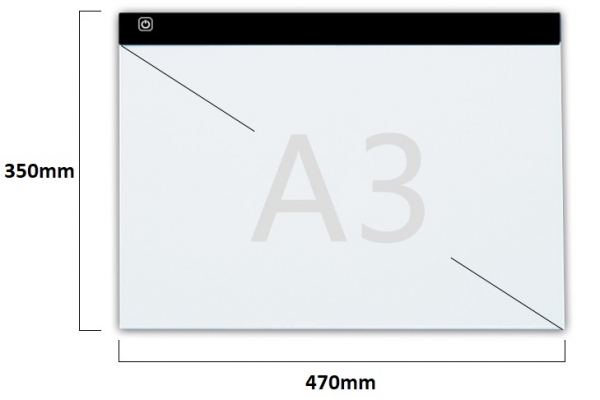 A3 LED licht Lichtbak / Tekentafel / Lichttafel / Lightpad / Lichtbox / Lightbox met 3 dimbare lichtstanden, o.a. voor Diamond Painting, fotografie, tekenen etc