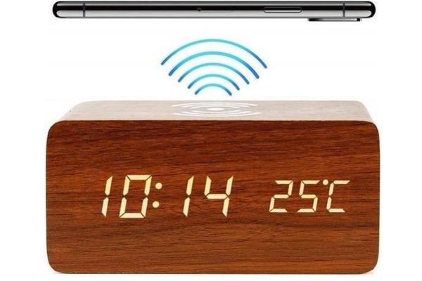 Houten wekker | Houten Qi charger | Houten klok - Bruin | Draadloze oplader lader >  Samsung S7, S8, S9, S10 iPhone 8, X, XR, XS, 8 plus, LG G3, Nexus 4, Nexus 5, Nexus 6, Nokia 920 etc.