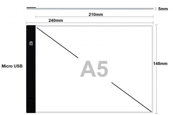 A5 LED licht Lichtbak / Tekentafel / Lichttafel / Lightpad / Lichtbox / Lightbox traploos DIMBAAR, o.a. voor Diamond Painting, fotografie, tekenen, tattoo etc.