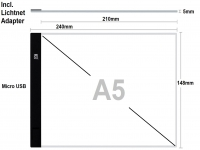 Lightpad A5 action met usb lader, LED lichtpaneel dimbaar