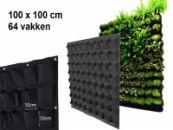 Verticale Tuin met 64 Vakken, 100 x 100 (cm), Zwart