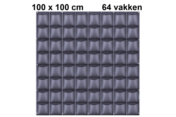 Vertical garden with 64 compartments, 100 x 100 cm   Black