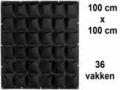 Verticale Tuin met 36 Vakken, 100 x 100 (cm), Zwart