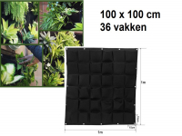 Vertical garden with 36 compartments, 100 x 100 cm | Black