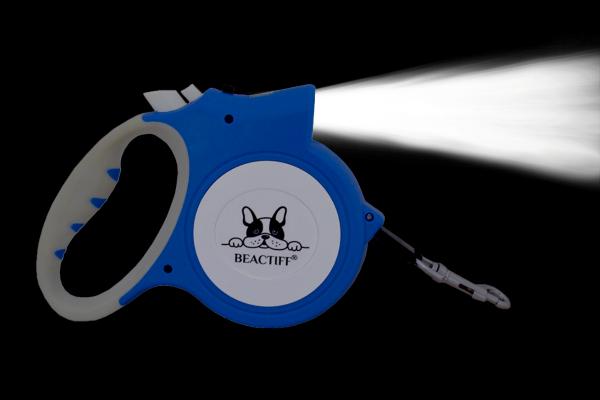 Hondenriem 5m LED, hondenlijn met zaklamp, licht, verlichting, led lamp, honden uitlaatlijn, 5 meter rollijn