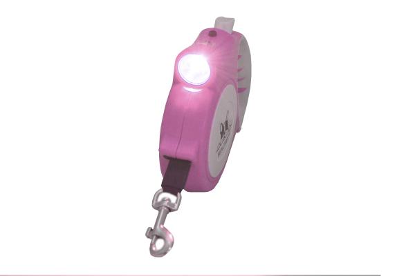 Roze 5m Hondenlijn met ingebouwde LED zaklamp, hondenriem