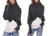 Large grey scarf with sleeves, trendy over-sized and soft