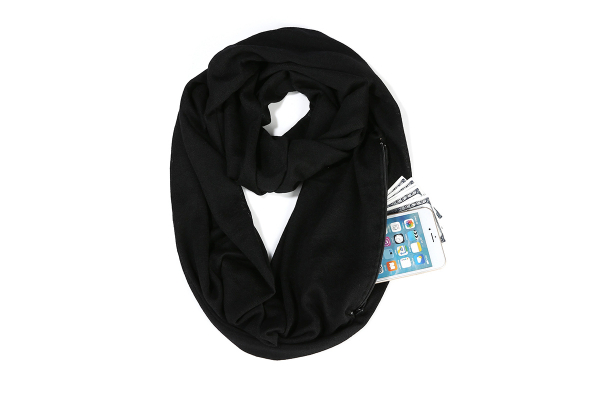 Fashion scarf with pocket (zip closure), Black