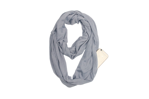 Fashion scarf with pocket (zip closure), Grey