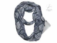 Fashion scarf with pocket (zip closure), Snake Camo